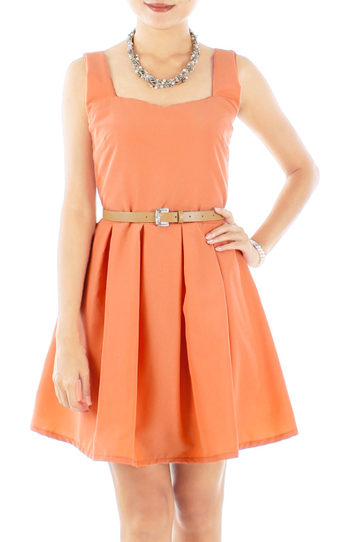Sweetheart Neckline Pleated Flare Dress