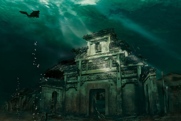 The city of Shi cheng under water. (Photo: Chinese National Geography)