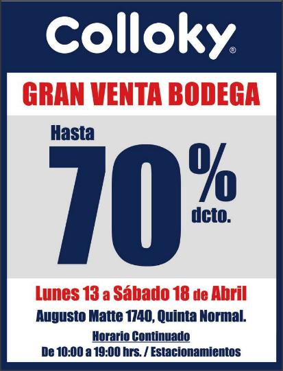 VENTA DE BODEGA COLLOKY (sólo 6 días)