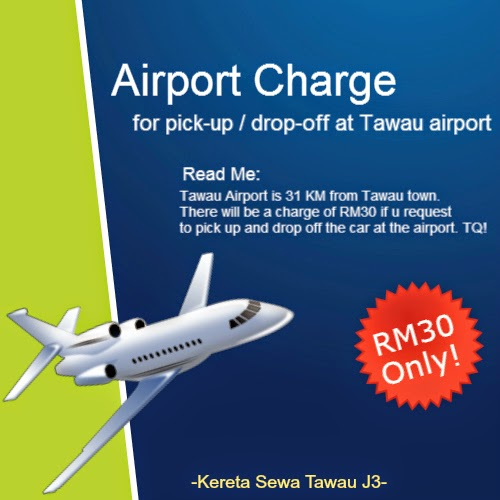 Tawau Airport (pick-up/drop-off) Charge