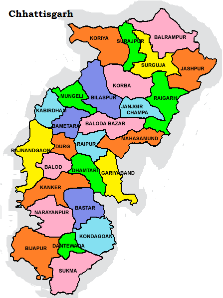 Chhattisgarh map, chhattisgarh district maps