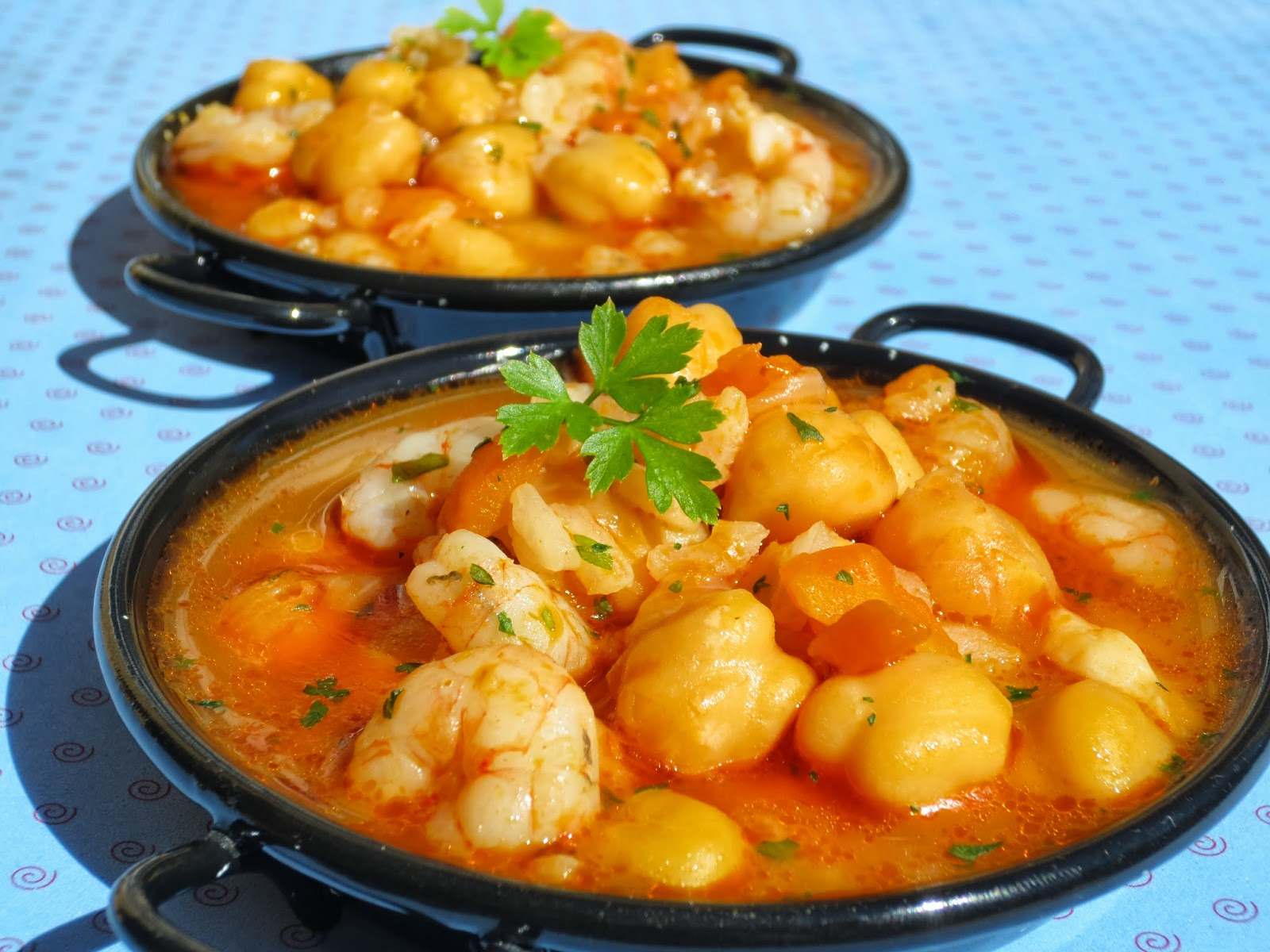 Garbanzos con gambas y arroz - Potaje garbanzos con arroz ...