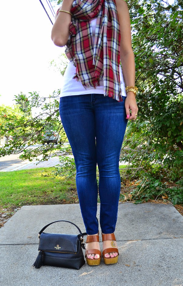 plaid scarf, fashion blogger, style blog, skinny jeans, shoemint shoes, kate spade crossbody bag