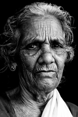 texture on the face of an old woman