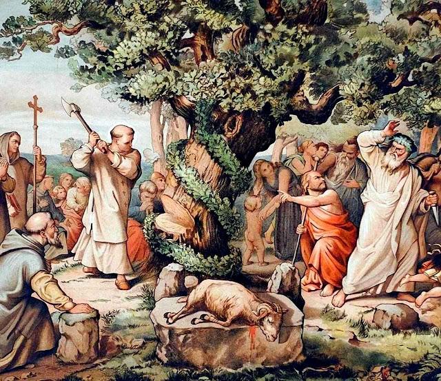 São Bonifácio não foi ecumênico e cortou a árvore do falso deus Thor.
