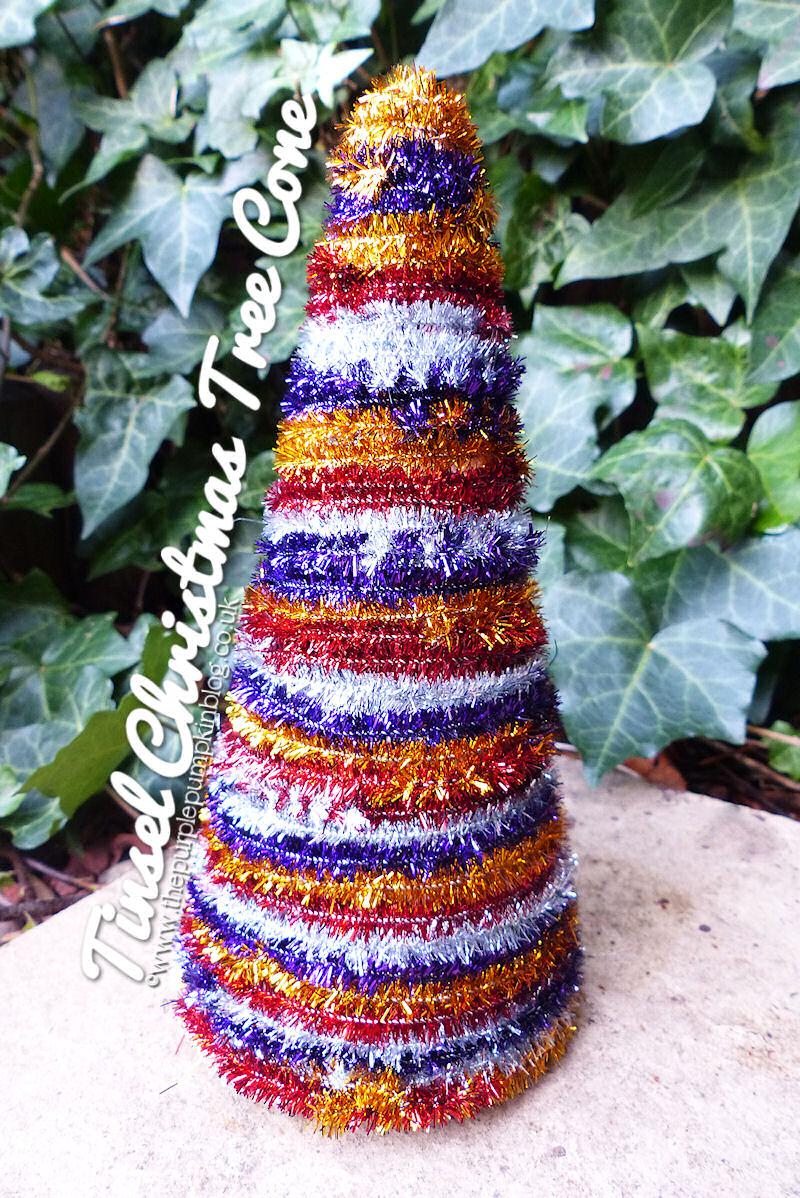 Tinsel #Christmas Tree Cone #Craft | The Purple Pumpkin Blog | #shop #cbias