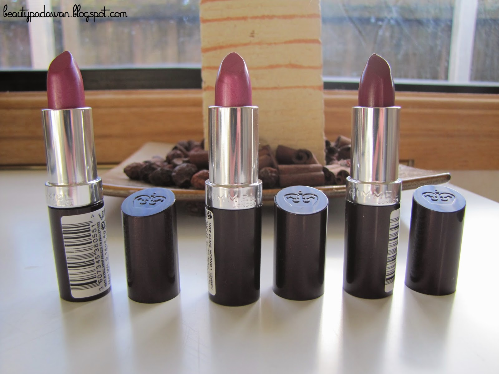 Rimmel Lasting Finish lipsticks, l to r: Amethyst Shimmer, Sugar Plum, Starry-Eyed
