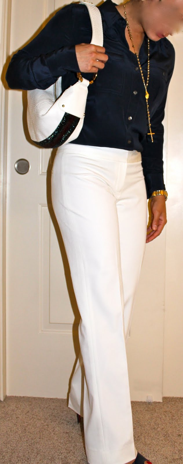 work attire with gold cross