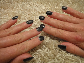 W7 Cosmic Black, W7 75, Black Glitter Nail Polish, Cheap Black Glitter Nail Polish