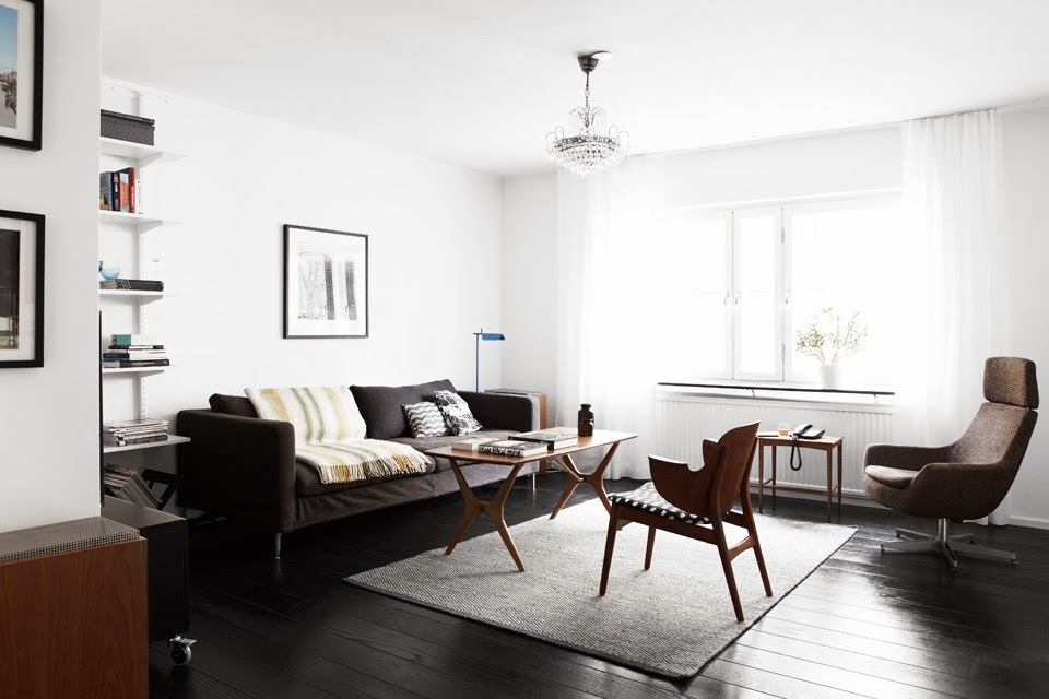 A Swedish Home With Black Floors And A Mid Century Touch Interior