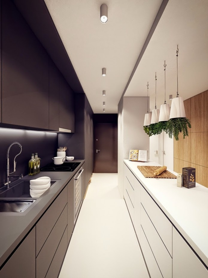 narrow kitchen designs  long in white and black colors Functional ideas cabinets
