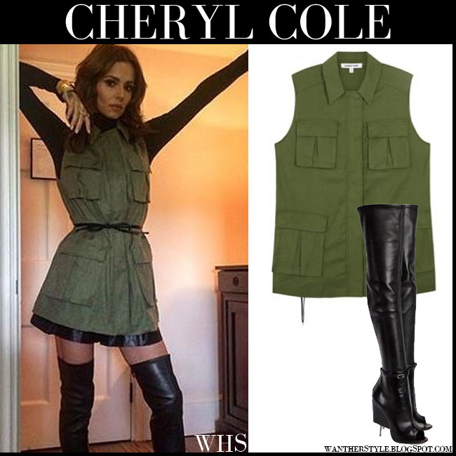 Cheryl Cole in army green sleeveless cargo vest elizabeth and james nikki with black leather thigh boots givenchy narlia what she wore july 28