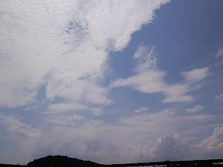 写真:屋上からの青空と白い雲