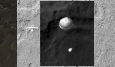 Curiosity MSL lands on Mars. Pictures sent by Mars Reconnaissance Orbiter (MRO). View of Curiosity and her supersonic parachute. 6 August 2012. NASA/JPL.