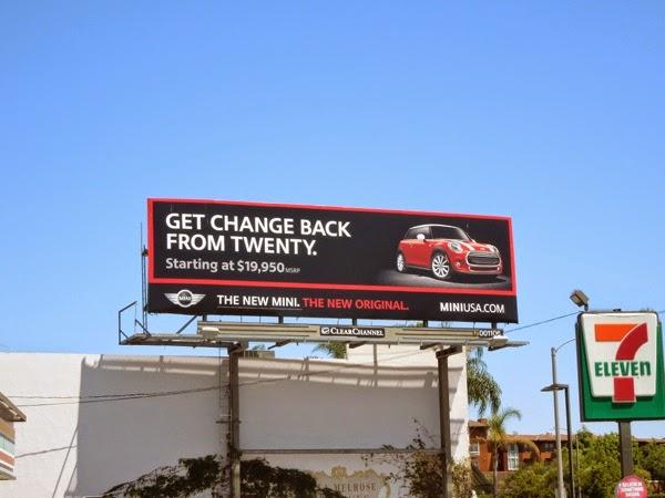 change back from twenty New Mini car billboard