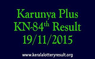 Karunya Plus KN 84 Lottery Result 19-11-2015
