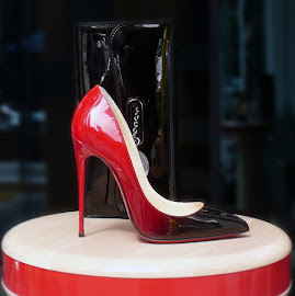Christian Louboutin Pigalle Ombré Patent Leather Pumps & Riviera Clutch