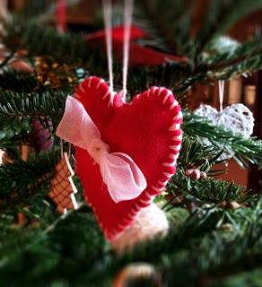 Red Felt Handmade Christmas Decoration with Ribbon