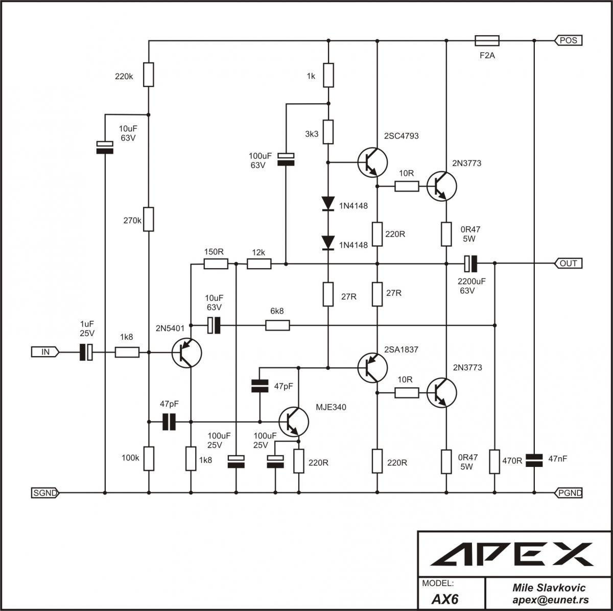 Merangkai Amplifier Retro 50w Single Supply Apex Ax6 Elektrue Skema