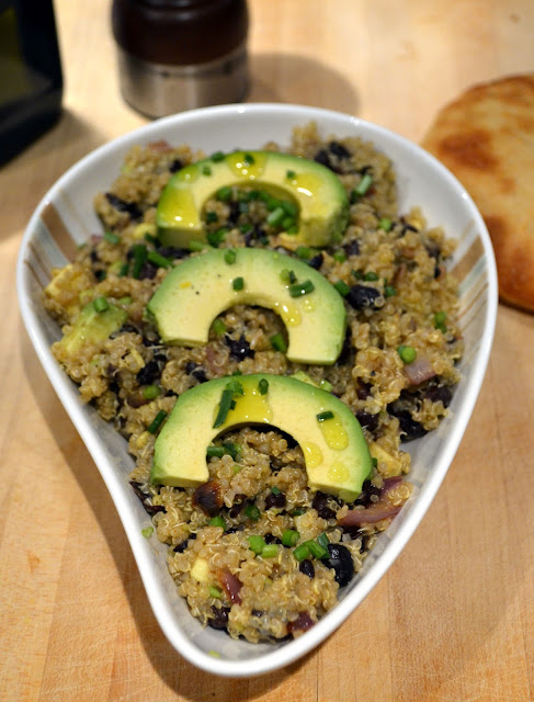 Quinoa Salad with Black Beans and Avocado Dressing