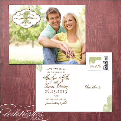 palm tree destination beach wedding photo save the date post card