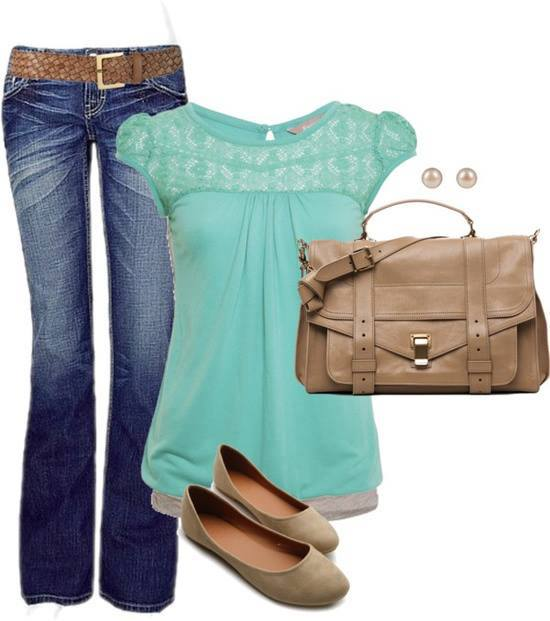 Light blue blouse, jeans, brown leather bag and shoes for ladies