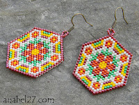 Brick peyote seed beaded earrings pattern free flower