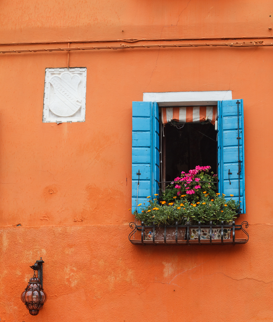 Window box on a house on the island of Burano