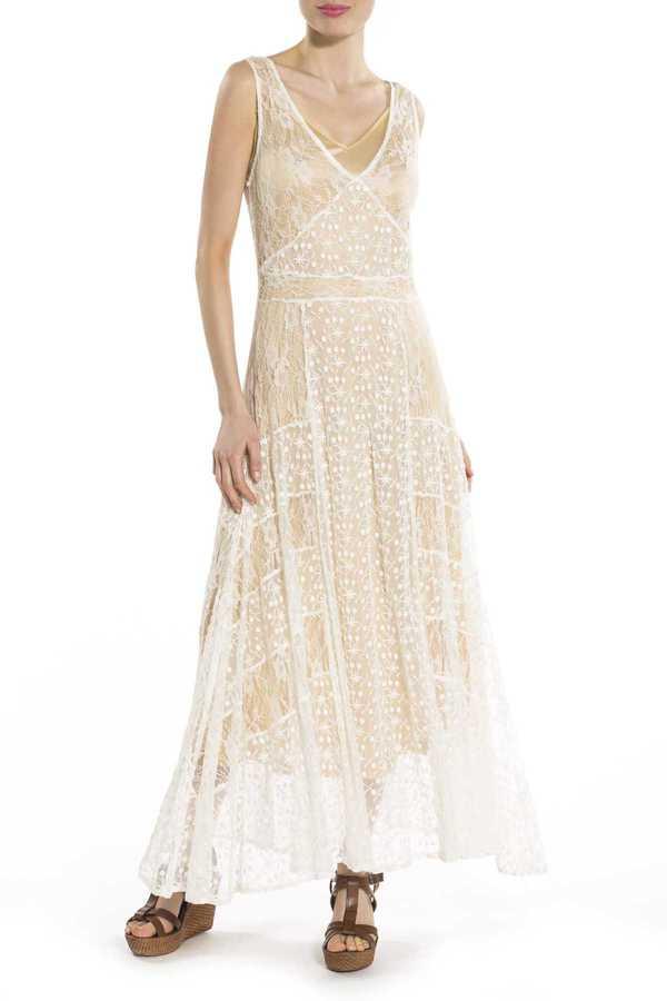 Μαξι φορεμα δαντελα τυπου νυφικο εισαγωγης