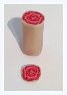 Finished Millefiori Rose Cane made from polymer clay in Burgundy shades