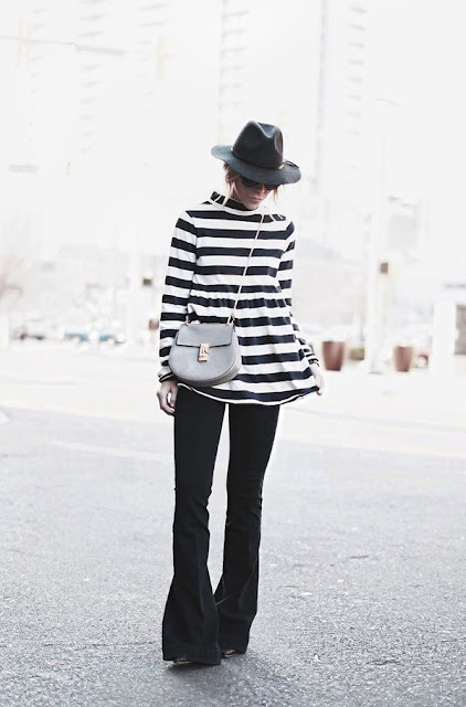 Flared pants, striped top, Chloe bag