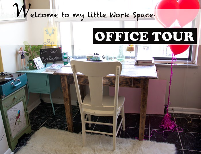 Office-Space, Home-Tour-Decoration, Table, Balloons, chalk-board, wood-furniture
