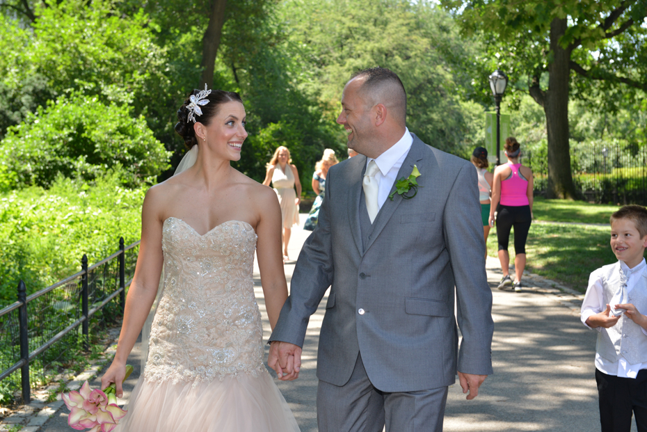 Bride and Groom walk to Harlem Meer Picnic Reception