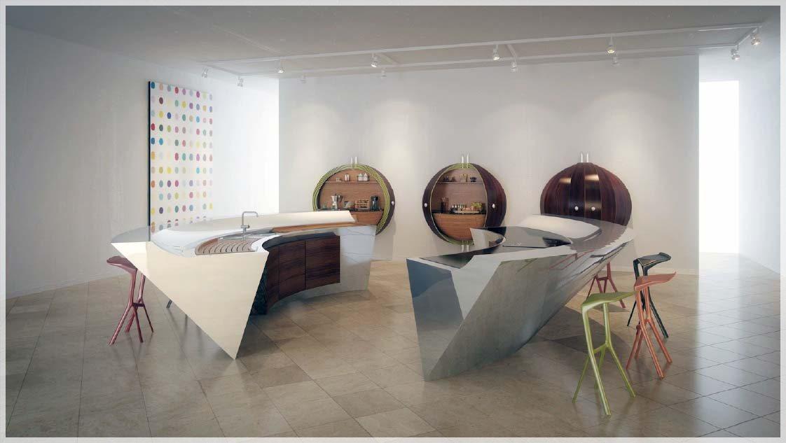 Nyskapende kjøkken & kurvet benkeplater   interiør inspirasjon