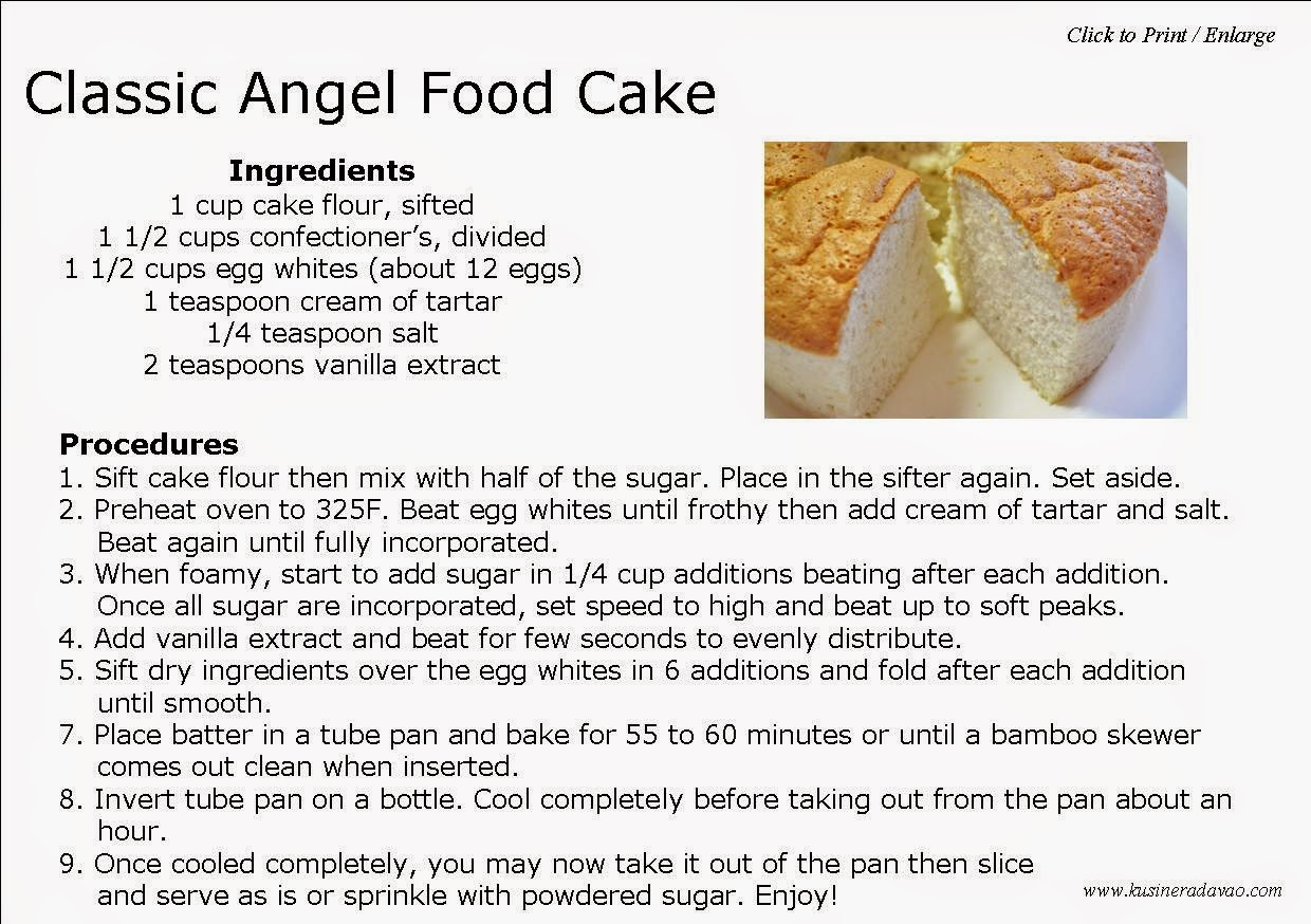 Cake Recipes With Pictures And Procedure : Classic Angel Food Cake KUSINERA DAVAO