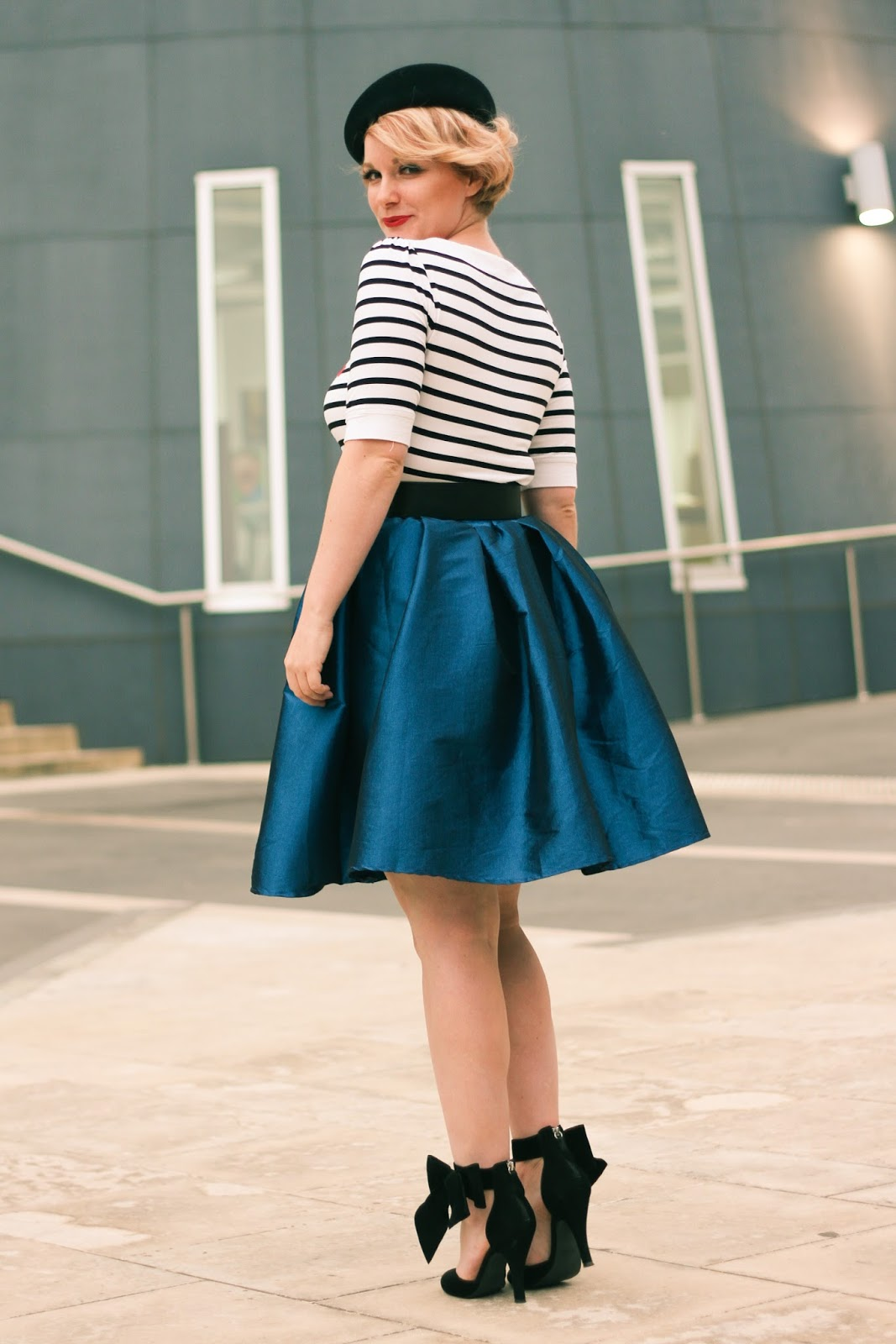 Finding Femme in Review Australia La Dolce Vita striped top, Alannah Hill belt, blue a-line Chicwish midi skirt and black Modcloth heels with bows.