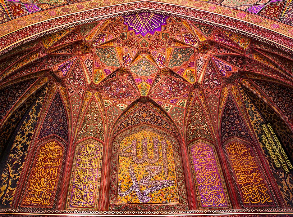 Beautiful Interior Design and Architecture in Wazir Khan Mosque Lahore