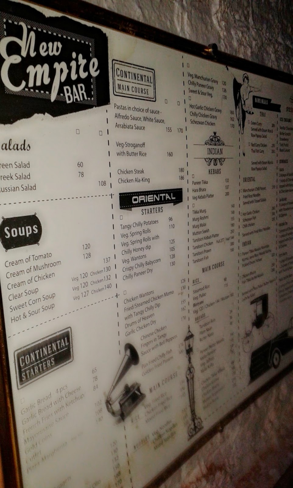 Menu at New Empire Bar, Kolkata