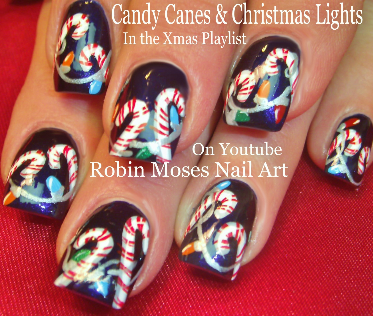 Christmas Nail Art Tutorial Gingerbread Galore: Robin Moses Nail Art: Easy Christmas Lights Nail Art