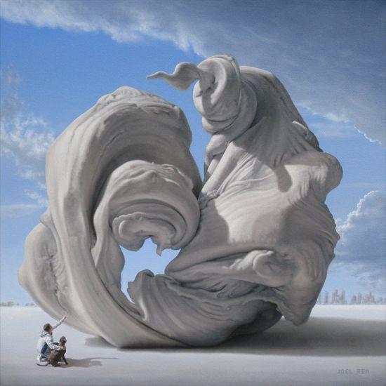 Joel Rea pintura hiper-realista surreal cães gigantes caindo céu Desejo monumental