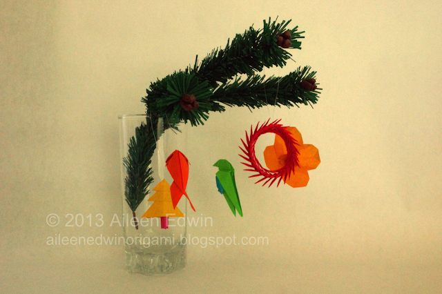 Handmade Christmas Tree Branch with Origami Decorations