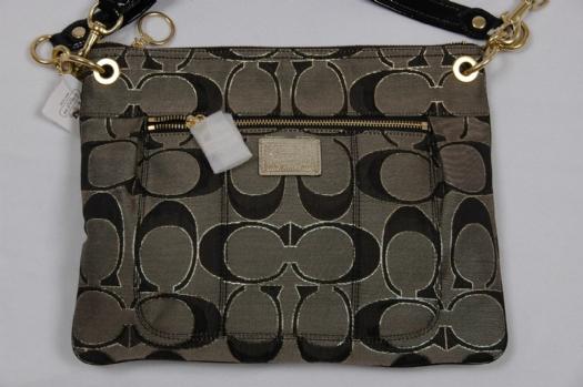 Coach Signature Poppy Hippie Crossbody Messenger Bag 18135 Black Gold 50
