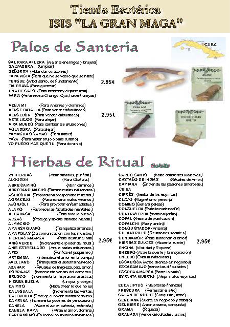 CATÁLOGO ESOTÉRICO HIERBAS Y PALOS DE SANTERÍA