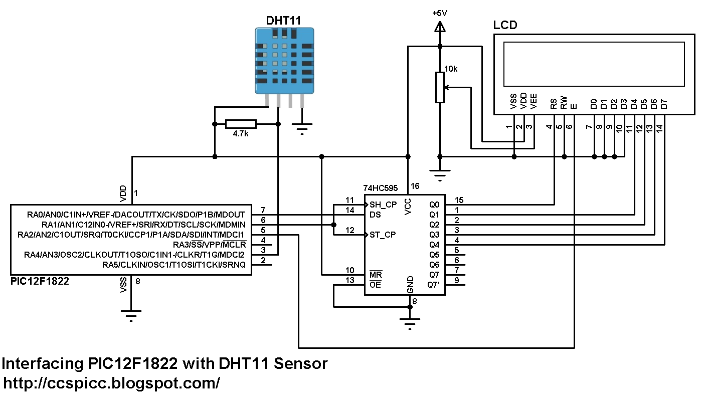dht11 interfacing with pic12f1822 microcontroller