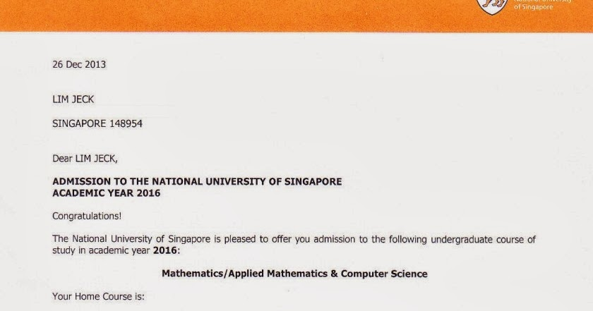 Welcome All Confirmed Offer Letter From NUS