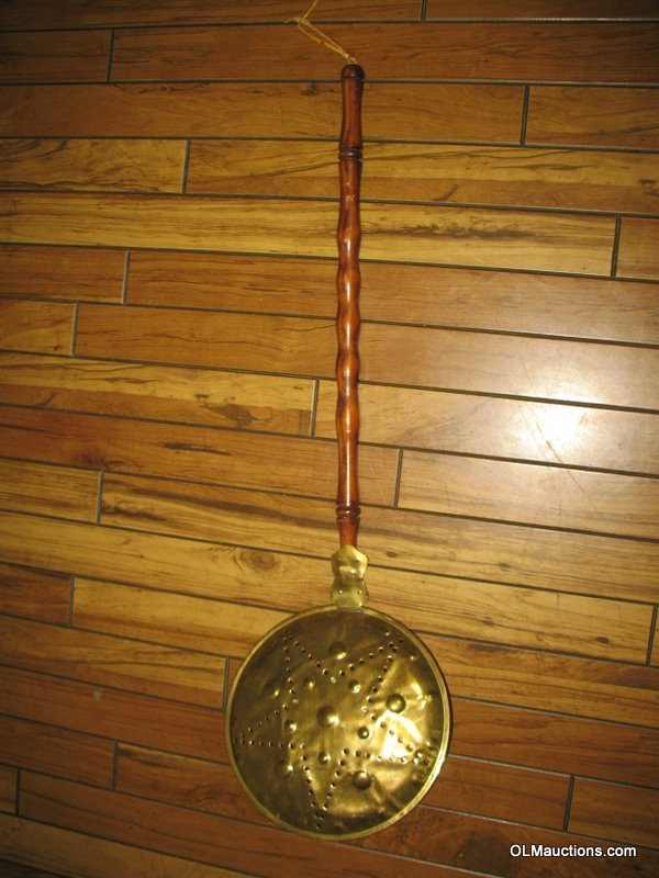 Internet Superstores Antique Brass Bed Warmer With Wooden