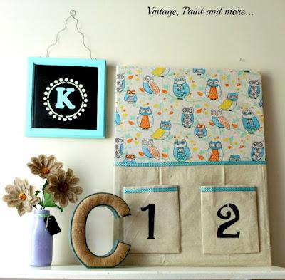 Vintage, Paint and more... DiY Room Decor - fabric covered bulletin board, diy monogram hanging and milk bottle vase