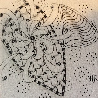 Zentangle, TanglePatterns String #159, Pax, Cadent, Raindotty, Isochor tangleation, Light to go places