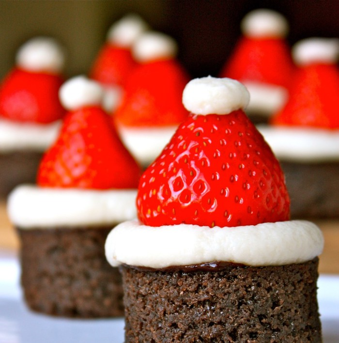 Santa Hat Brownies Dessert