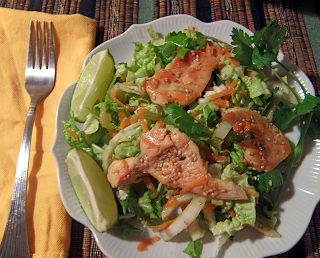 Plate of Thai Chicken Salad with Fork